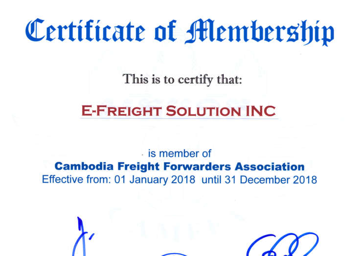 we renewed our membership at Cambodia Freight Forwarder Association (CAMFFA)